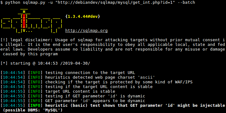 sqlmap: automatic SQL injection and database takeover tool